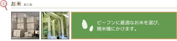 (1)お米 ビーフンに最適なお米を選び、 精米機にかけます。