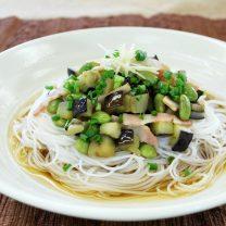 枝豆とナスの料亭ビーフン