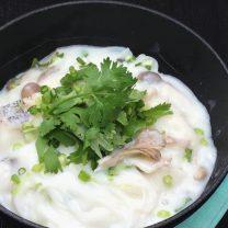 ビーフンと鱈と冬野菜のクリーム仕立て