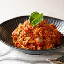 レンジで簡単☆サバ味噌缶のトマトビーフン
