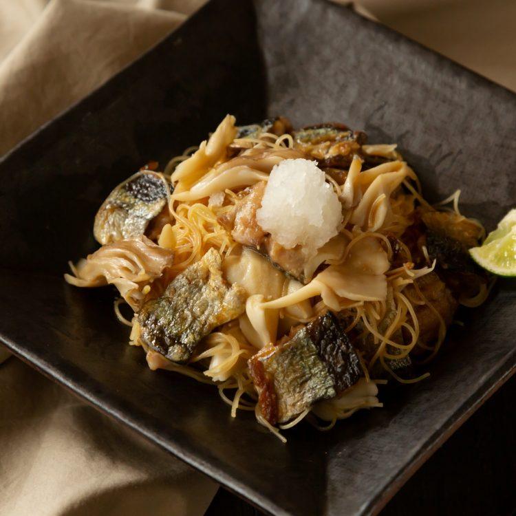 秋刀魚とすだちの和パスタ風ビーフン