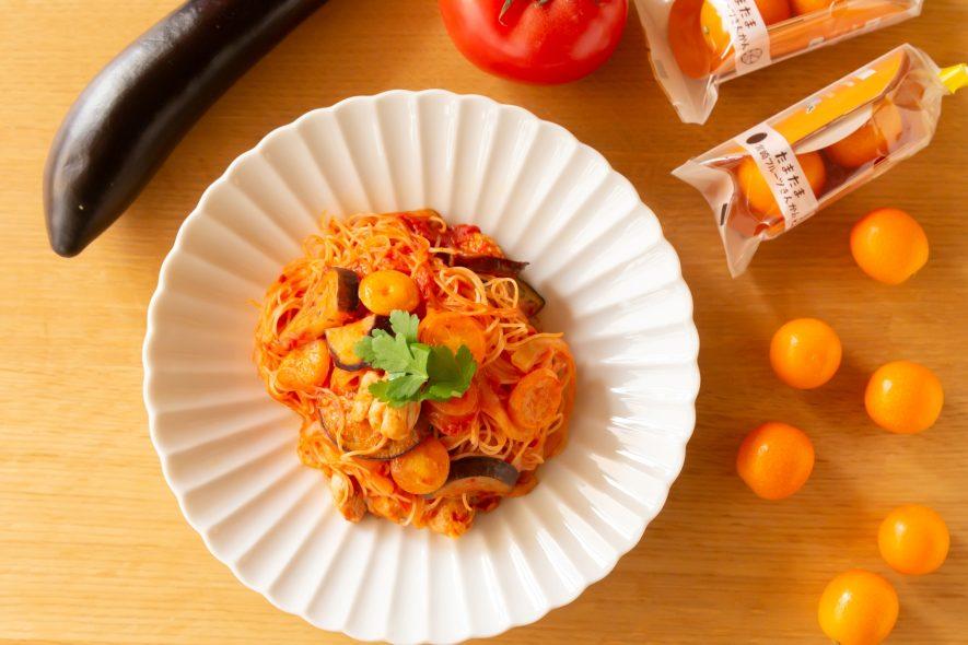 佐土原茄子と きんかんたまたま のトマト煮込み風ビーフン