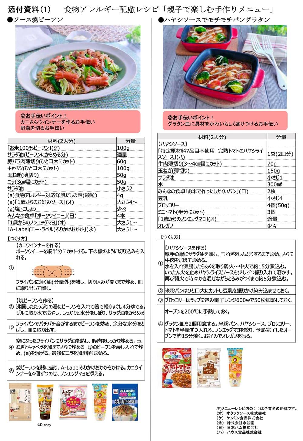 食品メーカーによる食物アレルギー協同取り組み「プロジェクトA」 ケンミン食品参画後、初の5社協同開発の食物アレルギー配慮レシピを発表