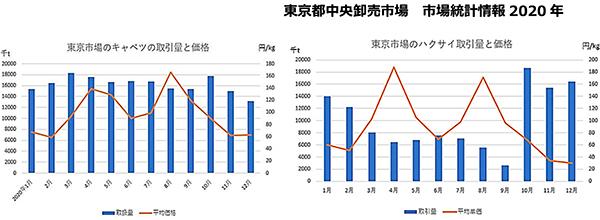 主要野菜の取引量と平均価格の推移(2020年1〜12月)